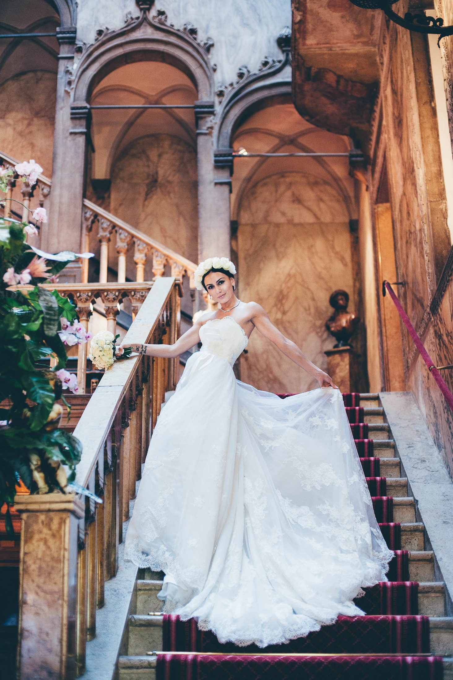 Bride on the steps of Denieli hotel